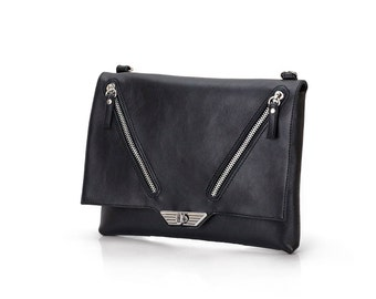 Leather clutch / Black leather clutch / Leather bag black with zipper / Clutch purse / Clutch bag / Cutch handbags / Clutch leather /