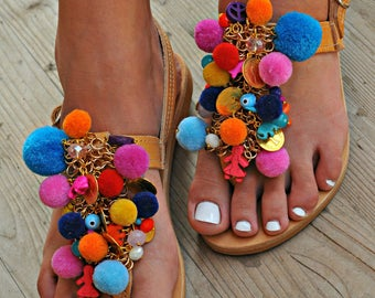 "Handmade Sandals, Boho Sandals, Greek Leather Sandals, Pom Pom Sandal, Decorated Sandals, Hippie sandals, Festival Sandals ""Colour  Passion"""