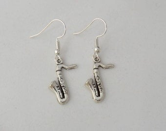 Saxophone earrings, musical instrument earrings, gift for her, stocking filler, sterling silver earrings, music student or teacher gift