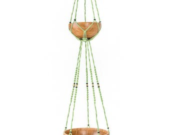 With bamboo Bowl, large hanging macrame 2 floors wears plants: 1 m 45
