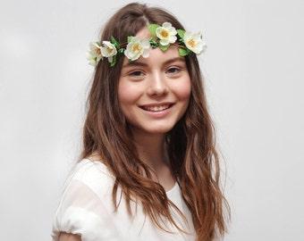 ON SALE White Flower Crown Wedding Hair Wreath, White Crown, Bridesmaid Hairpiece, Flower Girl Crown, Romantic Wedding Bridal Floral Crown