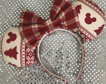 Inspired Ugly Christmas Sweater Mickey / Minnie Mouse Ears