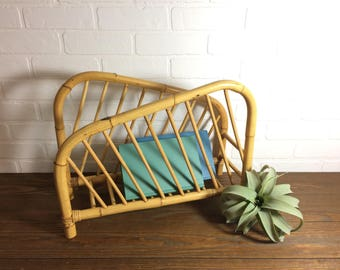Vintage Bamboo Magazine Rack / Vintage Rattan Magazine Rack / Magazine Holder / Blanket Rack / Blanket Holder / Boho Midcentury Living Room