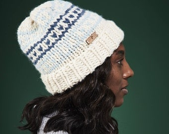 Fair Isle Hat Women's Winter Hat Double Brim / Customize with 12 Colors // Free Shipping Holiday Gifts for Women