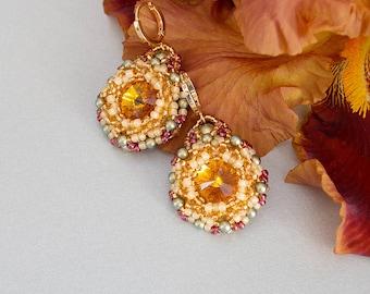 Cute earrings for women Honey earrings Orange round earrings Beaded orange earrings Flower earrings Oriental earrings Turkish earrings gift