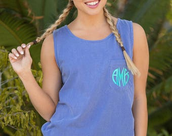Embroidered Comfort Colors Pocket Tank..Preppy Summer Tank..Vibrant Tank..Cute Monogram Pocket Tank..Preppy Embroidered Tank