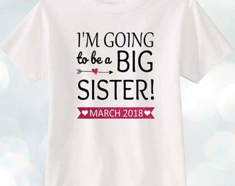 Kids toddler T-shirt Personalized ADD Month and year! I am going to be a big sister