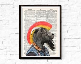 Punk Goat, Goat PUNK Rock, illustration dictionary page book art print
