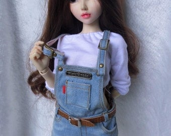 Overall denim washing for minifee msd slim and belt