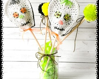 Halloween skull decorations,party decorations,skull decorations,table centerpiece Halloween,table centerpiece,Halloween centerpiece,crochet