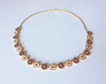 Vintage 1950's Gold Pearl Seeds Garnet Cabochons Statement Flower Bib Necklace