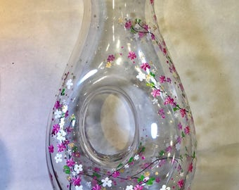 Hand Painted Carafe Decanter - Cherry Blossom - Handpainted Glass Glassware