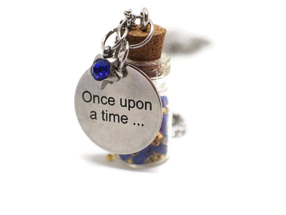 Once Upon a Time necklace - Miniature glass bottle necklace - Miniature bottle pendant - Fairy tale necklace - Fairytale favor - Glass Vial