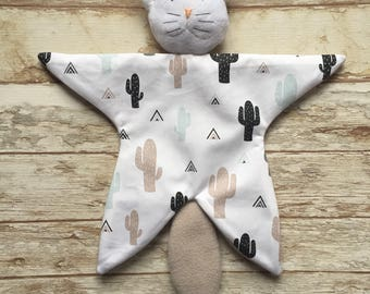Doudou baby blankie comforter Cat pattern cactus