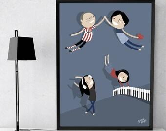 Family of Four - 4 People Portrait / Family Portrait / Family poster / Family caricature / Family illustration