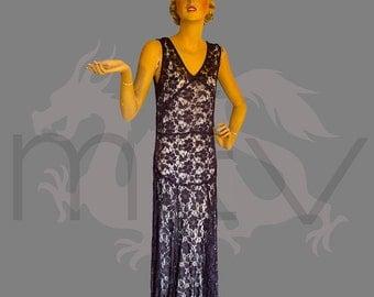 Dramatic 1930s Deep Purple Lace Bias Cut Dress Gown Versatile size