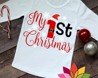 My 1st Christmas SVG, First, Santa Claus, Snow flake Baby shirt cut file for silhouette cameo and cricut