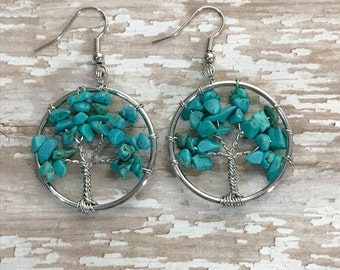 Turquoise Tree of life Earrings, Turquoise gemstone earrings, Stone earrings, Tree Earrings, Dangle earrings, Boho, Nature, Green earrings