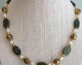 """Upcycled Jewelry -  """"Pocket Full of Posies"""" Beaded Necklace - Made with Vintage and New Materials"""