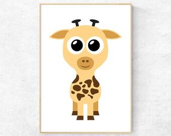 Giraffe nursery wall art, Kids room print, Nursery decor, Giraffe poster, Nursery Giraffe, Kids art, Animal print, Baby giraffe, Baby animal