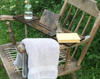 Bathtub tray, bath shelf, bath board, bath tray, tablet holder, gift for him, anniversary gift, gift for women, rustic bath decor