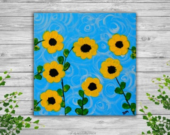 "Sunflowers: Small Acrylic Painting on Canvas 20x20cm (8""x8""), Flowers Painting, Original Handmade Painting, Home decor, Wall art"