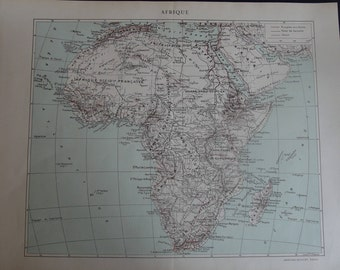 Vintage French Map of Africa / Afrique, c 1930s