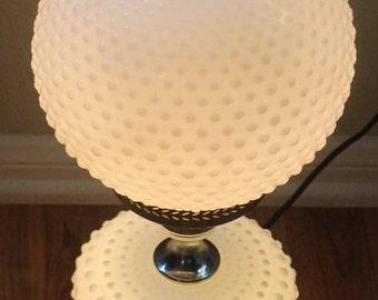 True Vintage Fenton Hobnail White Milk Glass Globe Lamp