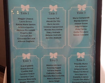 Tiffany blue bridal shower seating chart wedding name chart, poster
