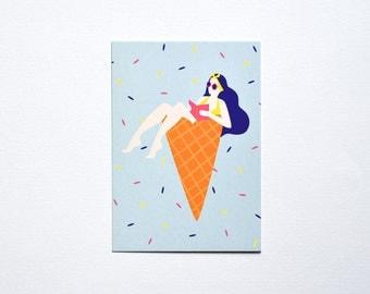 Blue Postcard Summertime Ice Cream Girl Woman Reading Sun