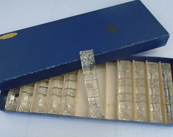 French - set of 10 Crystal knife rests in original box