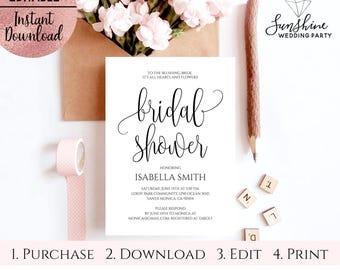 Bridal Shower Script Font Invitation Template, 5x7 Printable White Bridal Shower Invitation Template, Digital Download, Editable PDF File