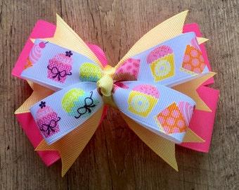Cupcake Hair Bow - Stacked Cupcake Bow - Pink Cupcake Bow - Boutique Cupcake Bow - Stacked Hair Bow - Boutique Hair Bow - 5 Inch Hair Bow