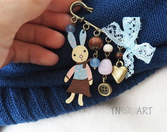 Bunny bow brooch pin / handmade jewelry bronze color charm brooch rabbit button heart charms woden beads wood blue pink color