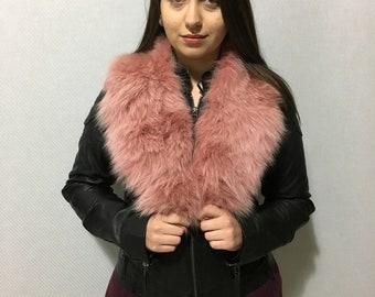 Natural Genuine Big Real Fur Collar Scarf Wrap Shawl Neck Warmer Magenta Color