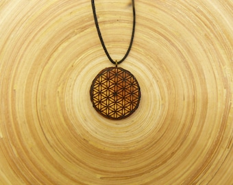 "Soul slices ""Flower of life 1"" wooden necklace, Vintage * Ethno * hippie * MUST have * statement *"