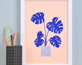 Art print» Monstera «-blue/salmon»