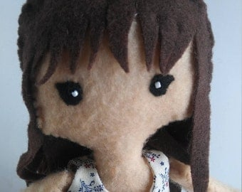 Long brown haired felt doll
