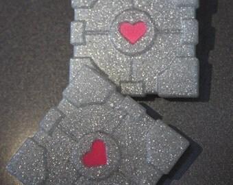Glitter Portal Companion Cube Pin