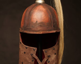 SALE -20% Medieval Eastern Leather Helmet | medieval nomad сostume | mongol armor | head armour | artificial aging