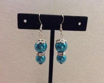 Earrings, Glass Pearl Earrings, Teal Glass Pearl Earrings