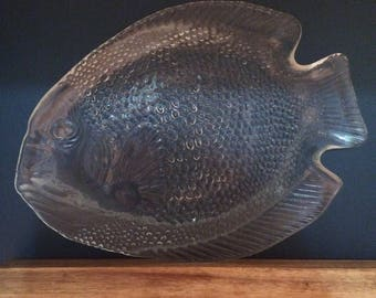 Glass Fish Plate by Arcoroc France
