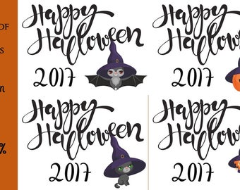 Halloween Printable / Bundle of 4 Happy Halloween 2017 Posters/ Bat Cat Pumpkin Witch / Size 8x10 300 DPI / Halloween Wall Art and Printable