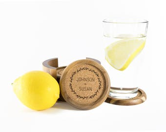 Personalized Coasters 6 pcs with Holder | Engraved Wood Coasters | Coaster Set | Personalized Wood and Cork Coasters | Wreath Coasters