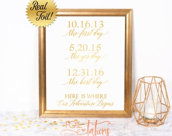 Custom Wedding Sign - The First Day The Yes Day The Best Day - Foil Sign