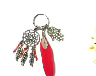 Keychain Dreamcatcher - Colorful Keychain - Boho Keyring - Silver Keyring - Red Feather - Ethnic Keychain