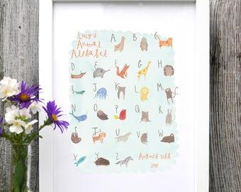 Kids Custom Name Animal Alphabet Print ABC Illustration New Baby Birthday Kids Room present gift