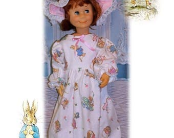 "Heirloom Collection in Charmin Size. Peter Cottontail Easter Nightgown & Bonnet for 24"" tall dolls like Charmin Chatty Cathy"