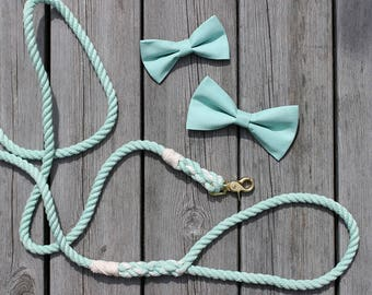 Dog Bow Tie Wedding set with Matching Rope Leash