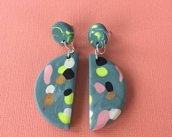 Dotted Half Moon Dangles - Olive Teal